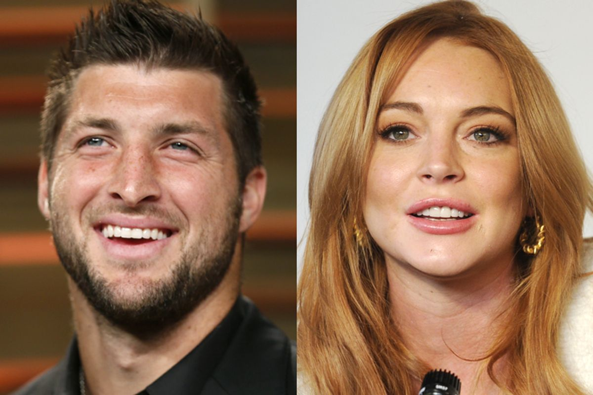 Tim Tebow, Lindsay Lohan    (Reutesr/Danny Moloshok/AP/Chris Pizzello)