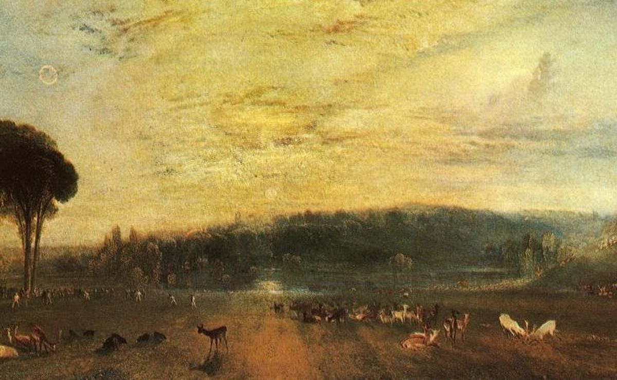The Lake, Petworth: Sunset, Fighting Bucks, by J. M. W. Turner, one of the paintings used in the study    (European Geosciences Union)