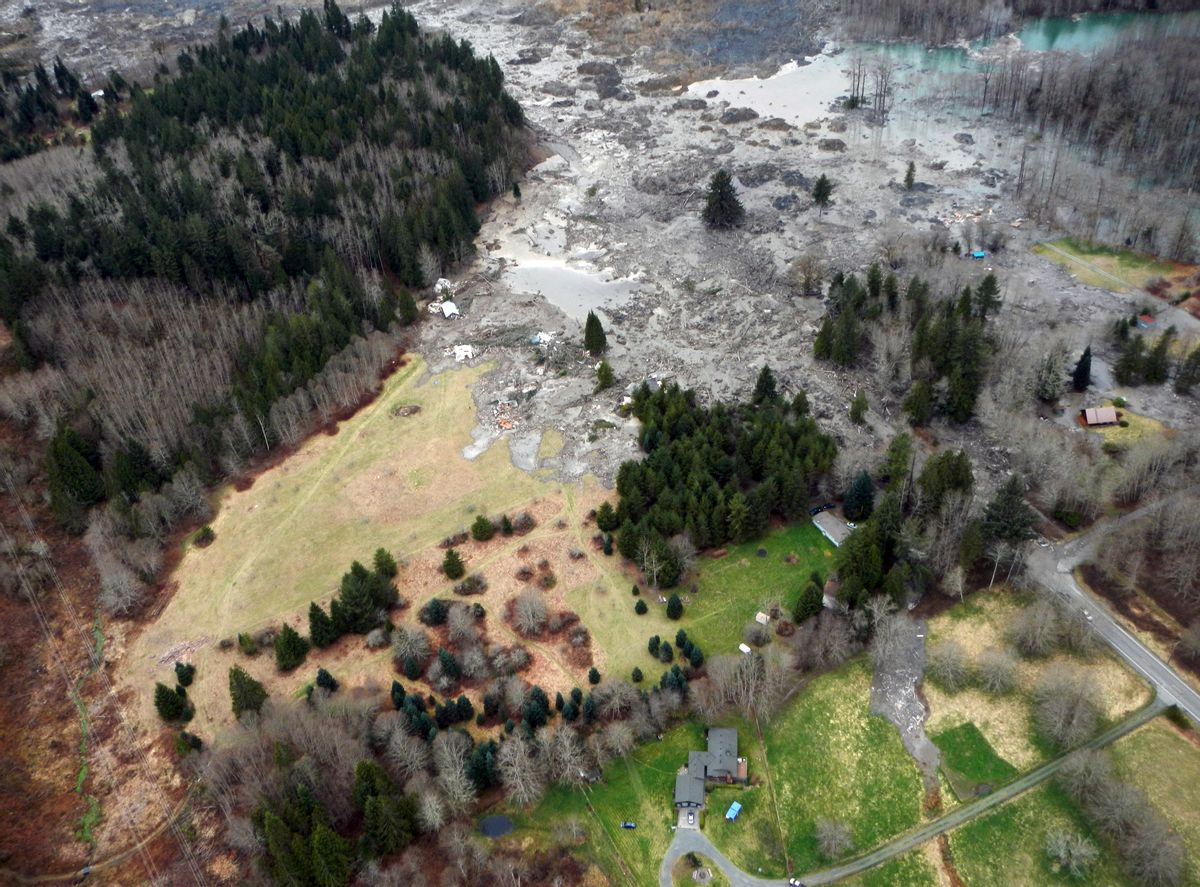 This March 23, 2014 photo, made available by the Washington State Dept of Transportation shows a view of the damage from Saturday's mudslide in Oso, Wash. (AP Photo/Washington State Dept of Transportation)