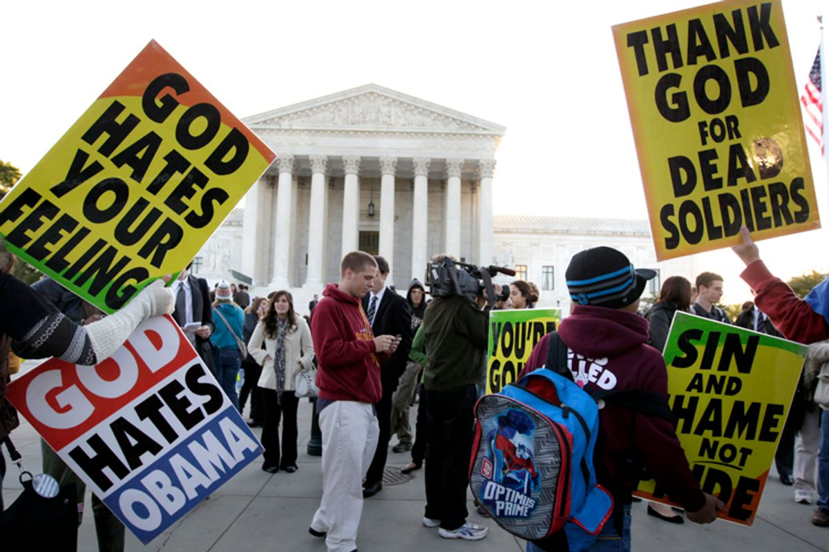 Members of the Westboro Baptist Church picket in front of the Supreme Court, Oct. 6, 2010.          (AP/Carolyn Kaster)
