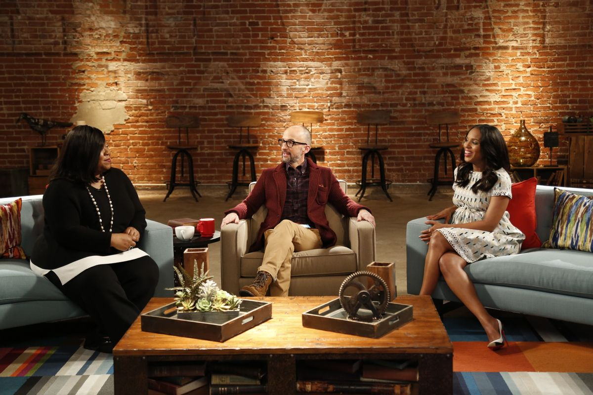 "L to R, Shonda Rhimes, Jim Rash and Kerry Washington - in the SundanceTV original series ""The Writers' Room""   (Photo Credit: JC Dhien)"