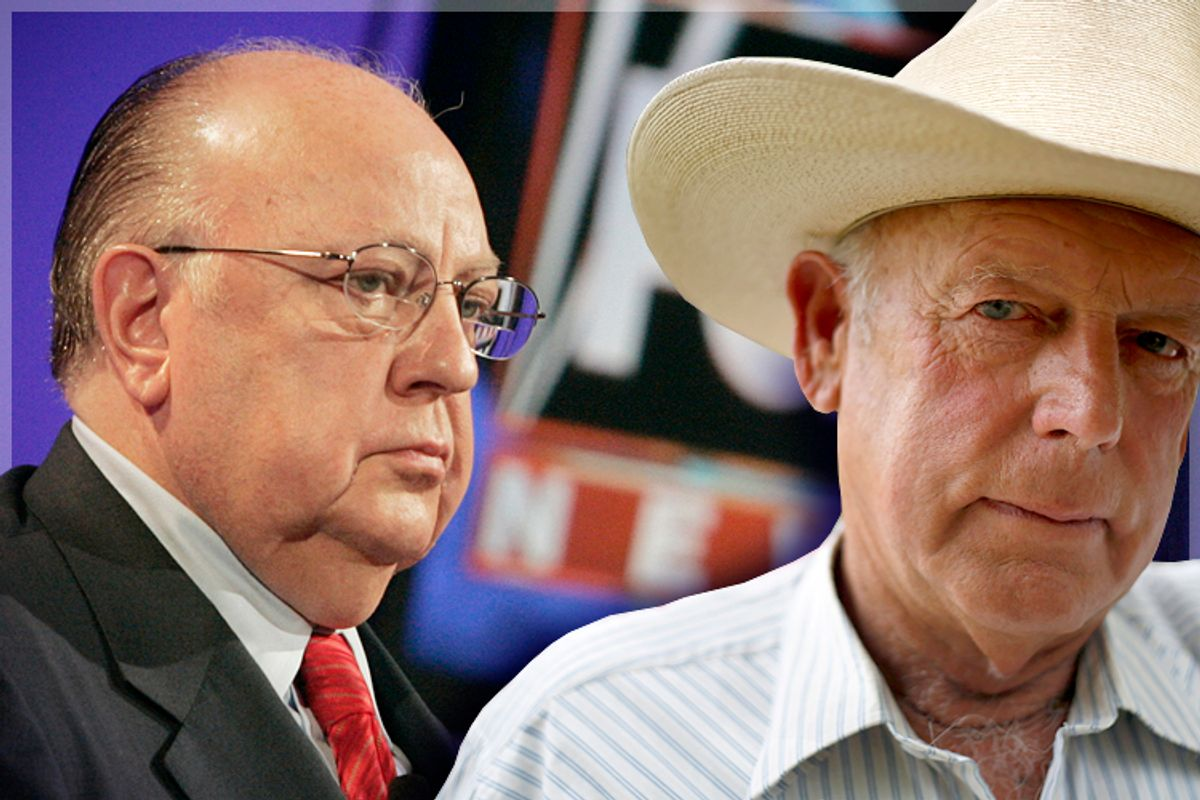 Roger Ailes, Cliven Bundy      (Reuters/Fred Prouser/Jim Urquhart/photo collage by Salon)