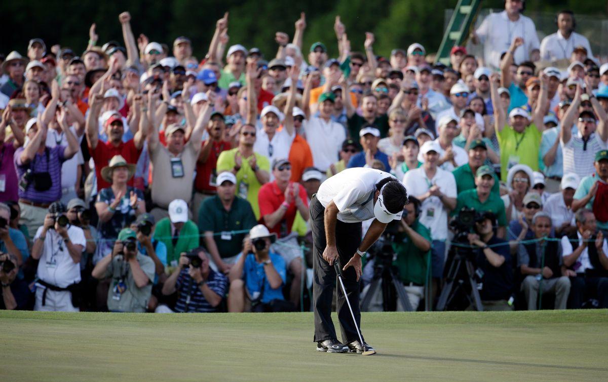 Bubba Watson reacts after winning the Masters golf tournament Sunday, April 13, 2014, in Augusta, Ga. (AP Photo/Darron Cummings) (Darron Cummings)