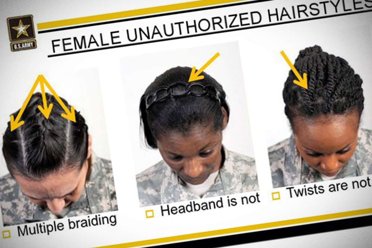 This image provided by the US Army shows new Army grooming regulations for females.     (AP/US Army)