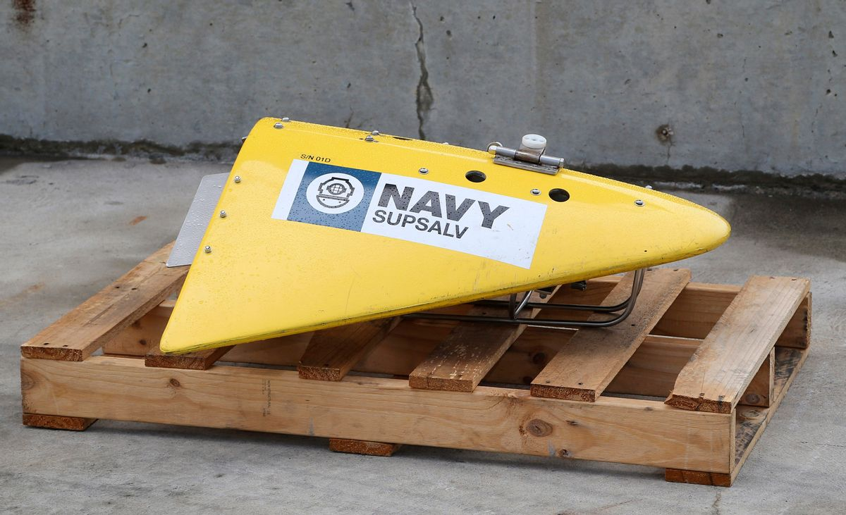 CORRECTS IDENTIFICATION OF EQUIPMENT TO A TOWED PINGER LOCATOR - A Towed Pinger Locator (TPL), used to detect black box recorders, sits on the wharf at naval base HMAS Stirling in Perth, Australia, ready to be fitted to the Australian warship Ocean Shield to aid in the search for missing Malaysia Airlines Flight MH370, Sunday, March 30, 2014. The Australian Maritime Safety Authority, which oversees the search, said the ship will be equipped with the TPL, an unmanned underwater vehicle, and other acoustic detection equipment. (AP Photo/Rob Griffith)  (Rob Griffith)