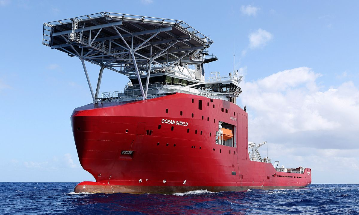 In this April 4, 2014, photo provided by the Australian Defence Force, the Australian Defence vessel Ocean Shield tows a pinger locator in the first search for the missing flight data recorder and cockpit voice recorder in the southern Indian Ocean. Ocean Shield, which is carrying high-tech sound detectors from the U.S. Navy, was investigating a sound it picked up. (AP Photo/ADF, LEUT Kelly Lunt, HO) EDITORIAL USE ONLY     (Leut Kelly Lunt)