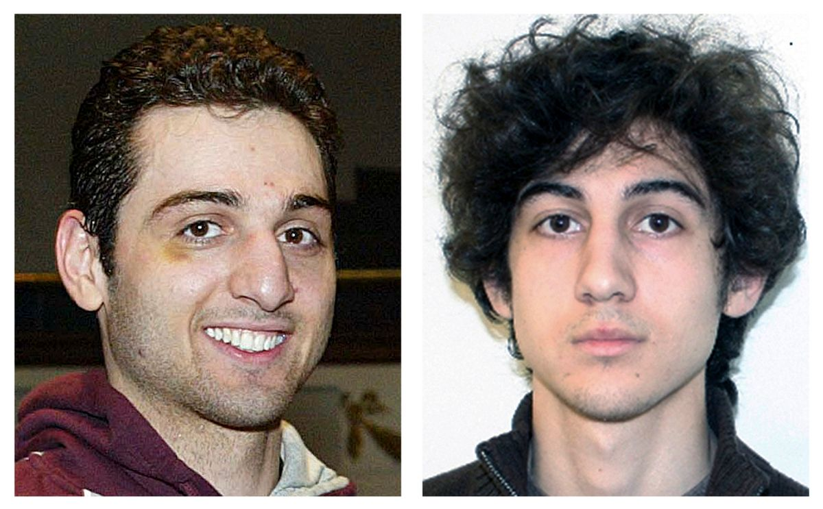 FILE - This combination of file photos shows brothers Tamerlan, left, and Dzhokhar Tsarnaev, suspects in the Boston Marathon bombings on April 15, 2013. Tamerlan Tsarnaev died after a gunfight with police several days later, and Dzhokhar Tsarnaev, was captured and is held in a federal prison on charges of using a weapon of mass destruction. A year after the bombings, prosecutors said they have a trove of evidence to use against Dzhokhar Tsarnaev, including surveillance video showing him placing one of the bombs just yards from Martin Richard, the 8-year-old boy who died in the blast. (AP Photos/Lowell Sun and FBI, File) (AP)