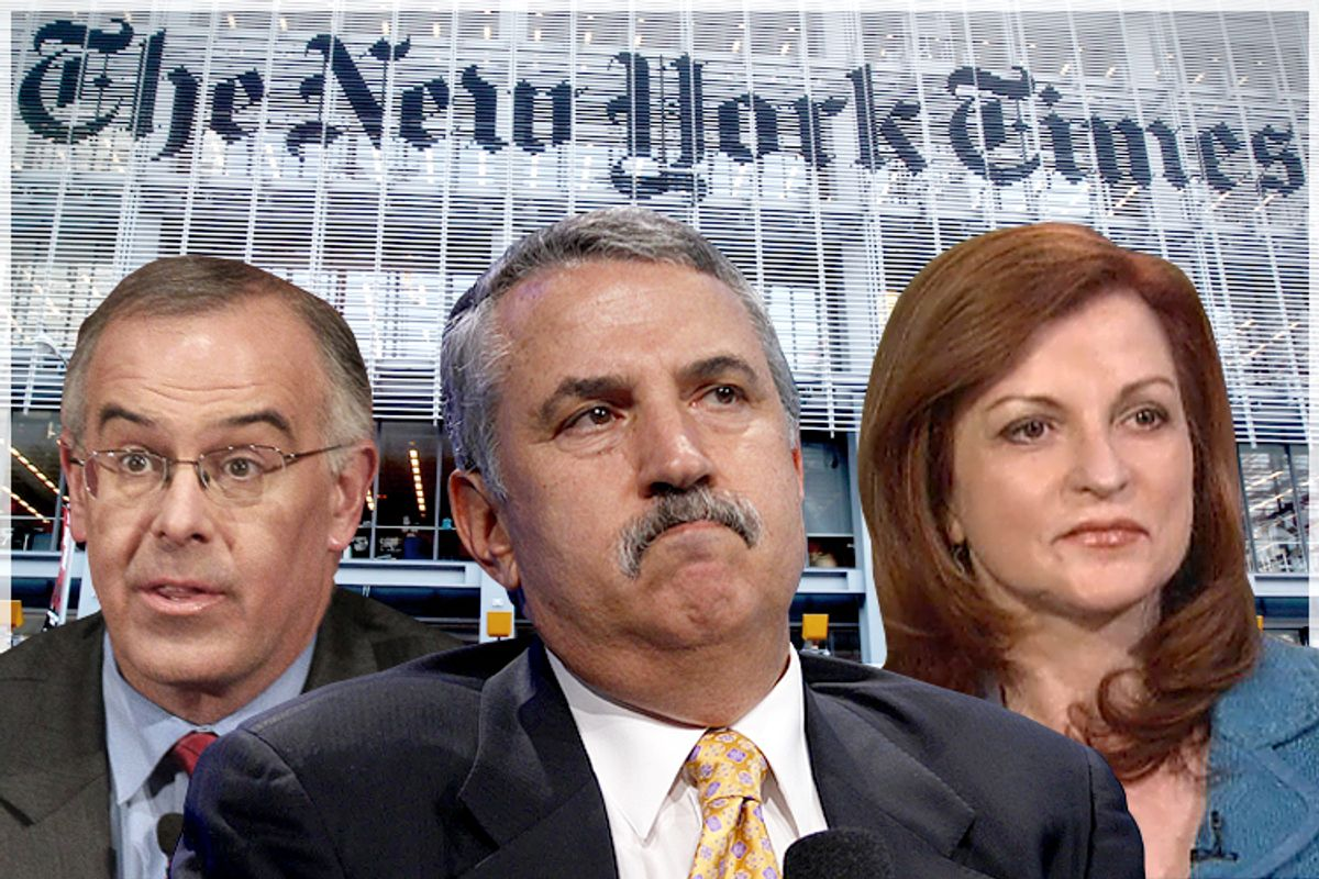 David Brooks, Thomas Friedman, Maureen Dowd              (AP/Nam Y. Huh/Reuters/Lucas Jackson/NBC News/Salon)
