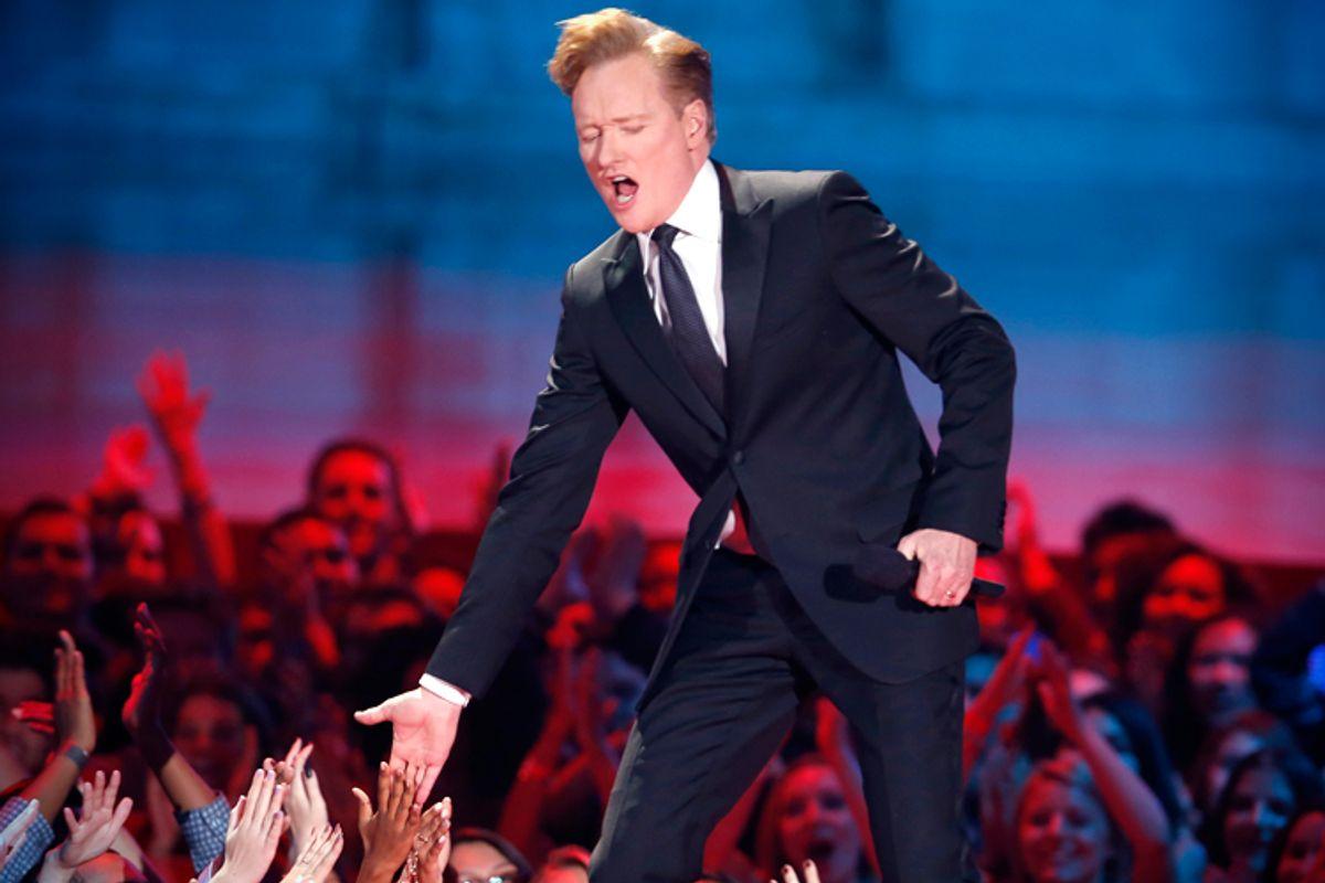 Conan O'Brien hosts the 2014 MTV Movie Awards in Los Angeles, California  April 13, 2014.       (Reuters/Lucy Nicholson)