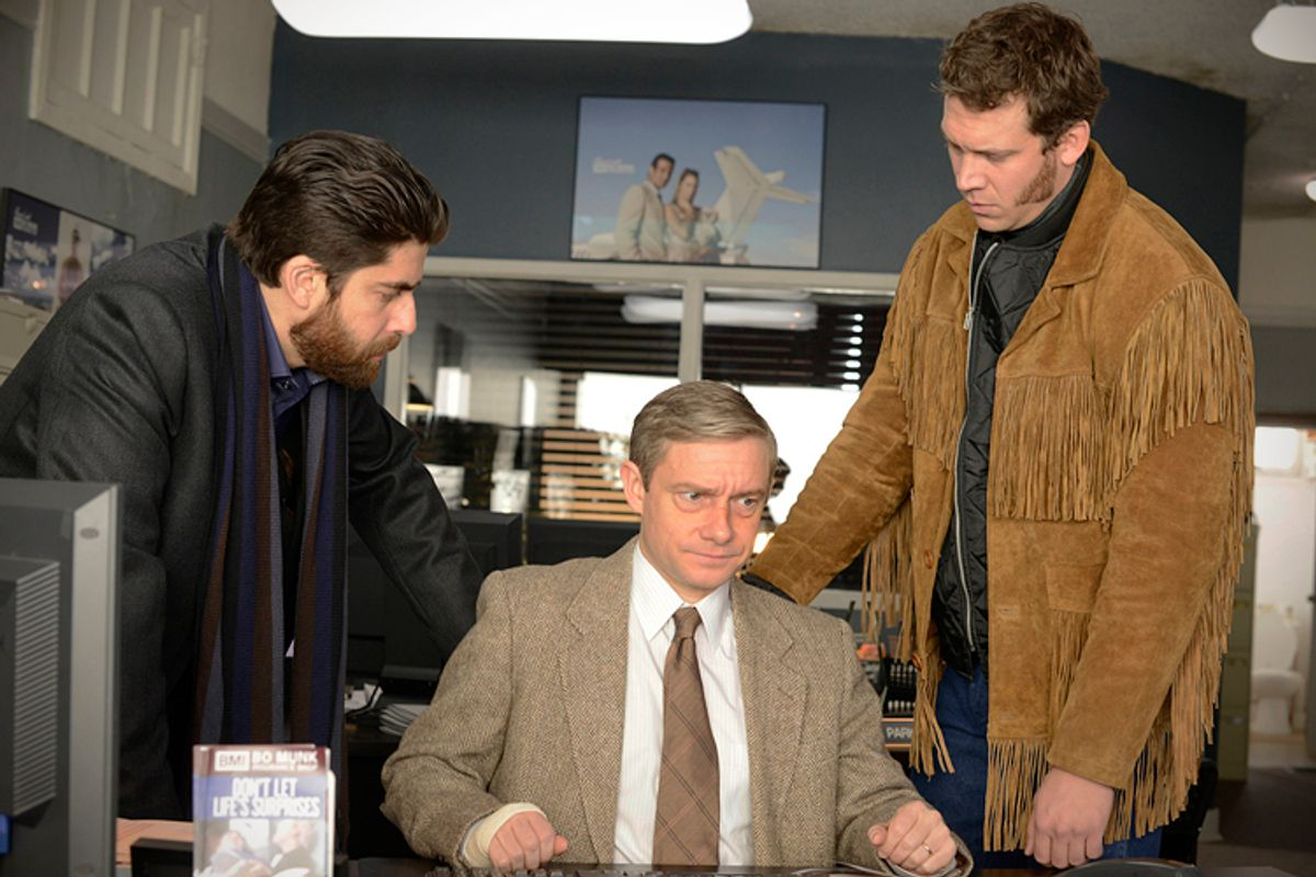 """FARGO """"A Muddy Road"""" -- Episode 103 -- Airs Tuesday, April 29, 10:00 pm e/p) -- Pictured: (L-R) Adam Goldberg as Mr. Numbers, Martin Freeman as Lester Nygaard, Russell Harvard as Mr. Wrench. -- CR: Chris Large/FX       (Chris Large)"""