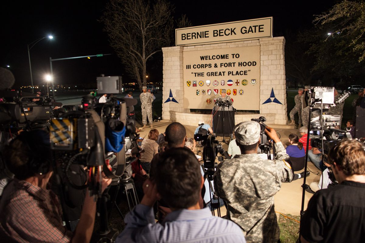 Lt. Gen. Mark Milley, commanding general of III Corps and Fort Hood, speaks with the media outside of an entrance to the Fort Hood military base following a shooting   (AP)