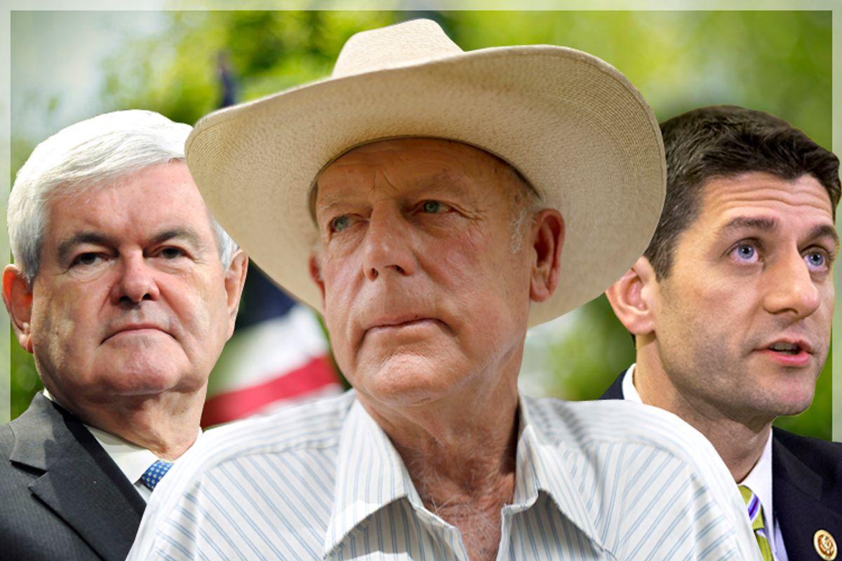 Newt Gingrich, Cliven Bundy, Paul Ryan            (Reuters/Tami Chappell/Jim Urquhart/AP/J. Scott Applewhite)