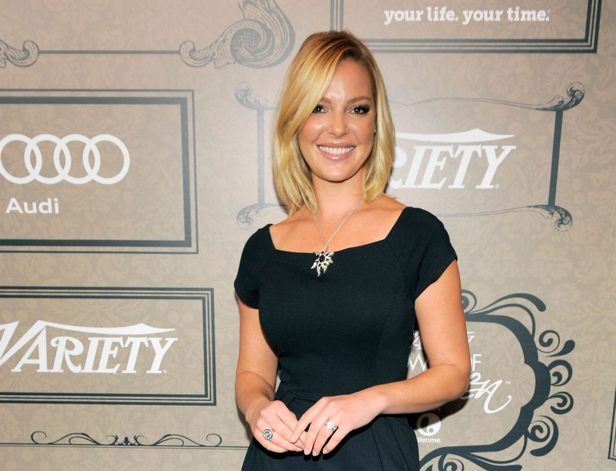 """FILE - In this Oct. 5, 2012 file photo, actress Katherine Heigl poses at Variety's 4th annual Power of Women event in Beverly Hills, Calif. Heigl has sued Duane Reade Inc., saying the company is using a picture of her leaving one of its pharmacies in its promotional materials. The 35-year-old who acted in the television series """"Grey's Anatomy"""" and in movies including """"Knocked Up"""" and """"27 Dresses"""" is seeking at least $6 million in damages. The lawsuit was filed Wednesday, April 9, 2014 in federal court in Manhattan. (Photo by Chris Pizzello/Invision/AP, File)  (Chris Pizzello/invision/ap)"""