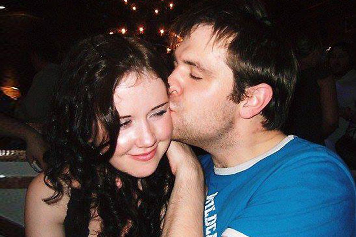 A photo of the author with his late wife, Jill Meagher