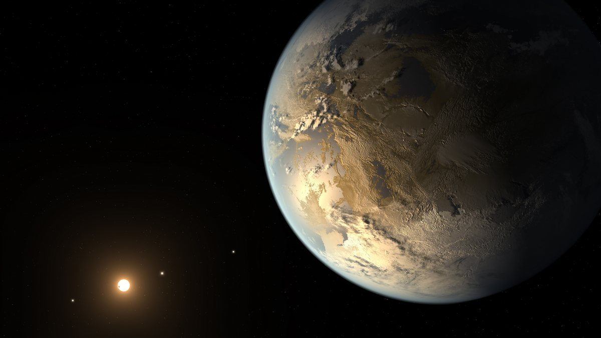 The artist's concept depicts Kepler-186f , the first validated Earth-size planet to orbit a distant star in the habitable zone.    (NASA Ames/SETI Institute/JPL-Caltech)