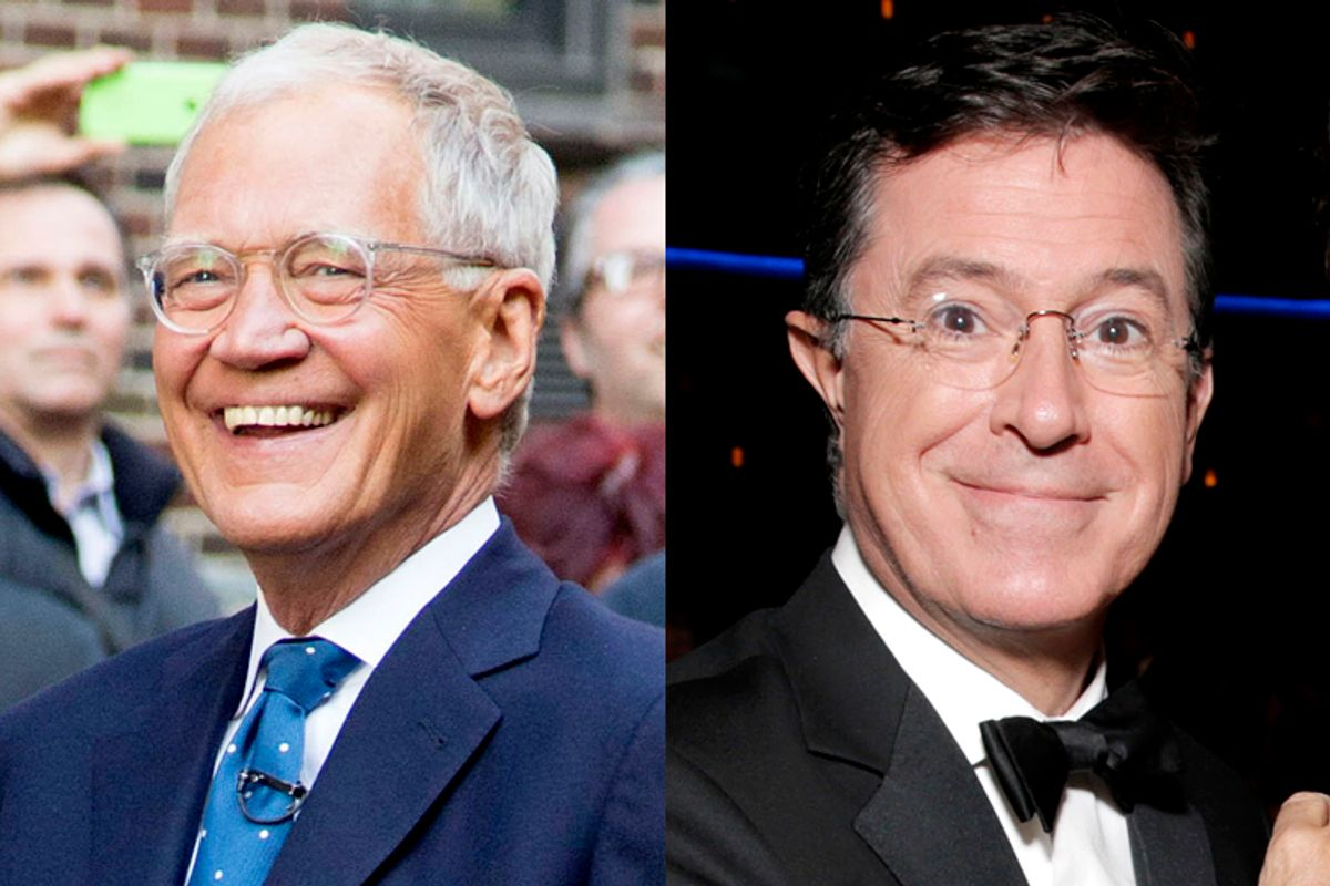 David Letterman, Stephen Colbert           (AP/Greg Allen/Todd Williamson)