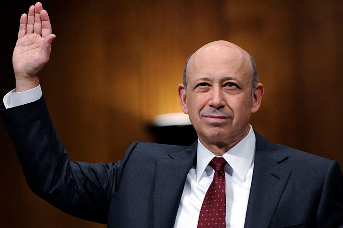 Lloyd Blankfein is sworn in to testify before the Senate Subcommittee on Investigations hearing on Wall Street investment banks and the financial crisis on Capitol Hill, April 27, 2010.       (AP/Susan Walsh)