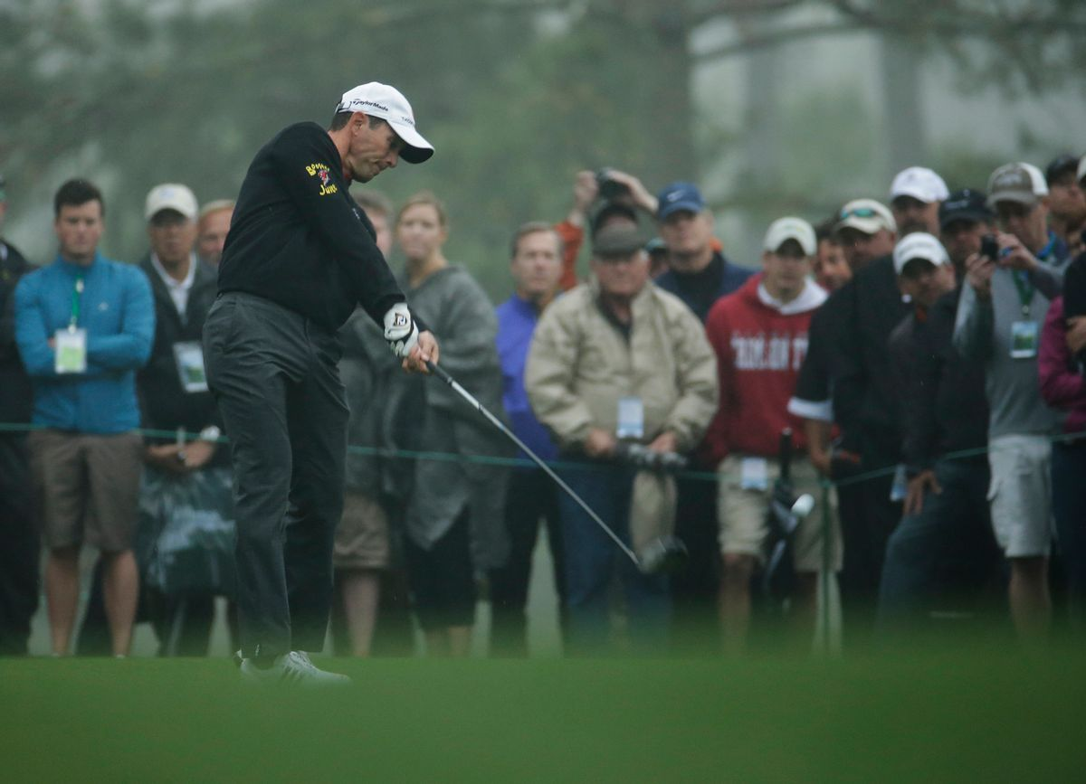 Mike Weir, of Canada, tees off on the 18th hole during a practice round for the Masters golf tournament Monday, April 7, 2014, in Augusta, Ga. (AP Photo/Charlie Riedel) (Charlie Riedel)