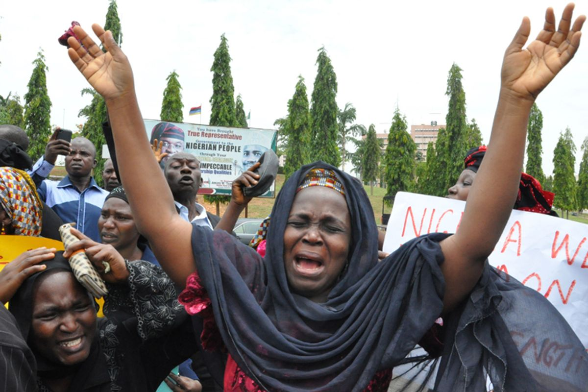 An unidentified mother at a demonstration with others who have daughters among the kidnapped school girls of government secondary school Chibok, Tuesday April 29, 2014, in Abuja, Nigeria.              (AP/Gbemiga Olamikan)