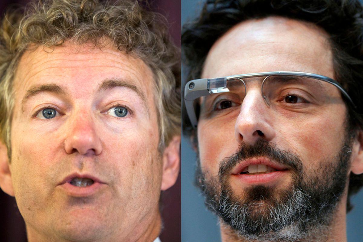 Rand Paul, Sergey Brin    (Reuters/Lucas Jackson/Robert Galbraith)