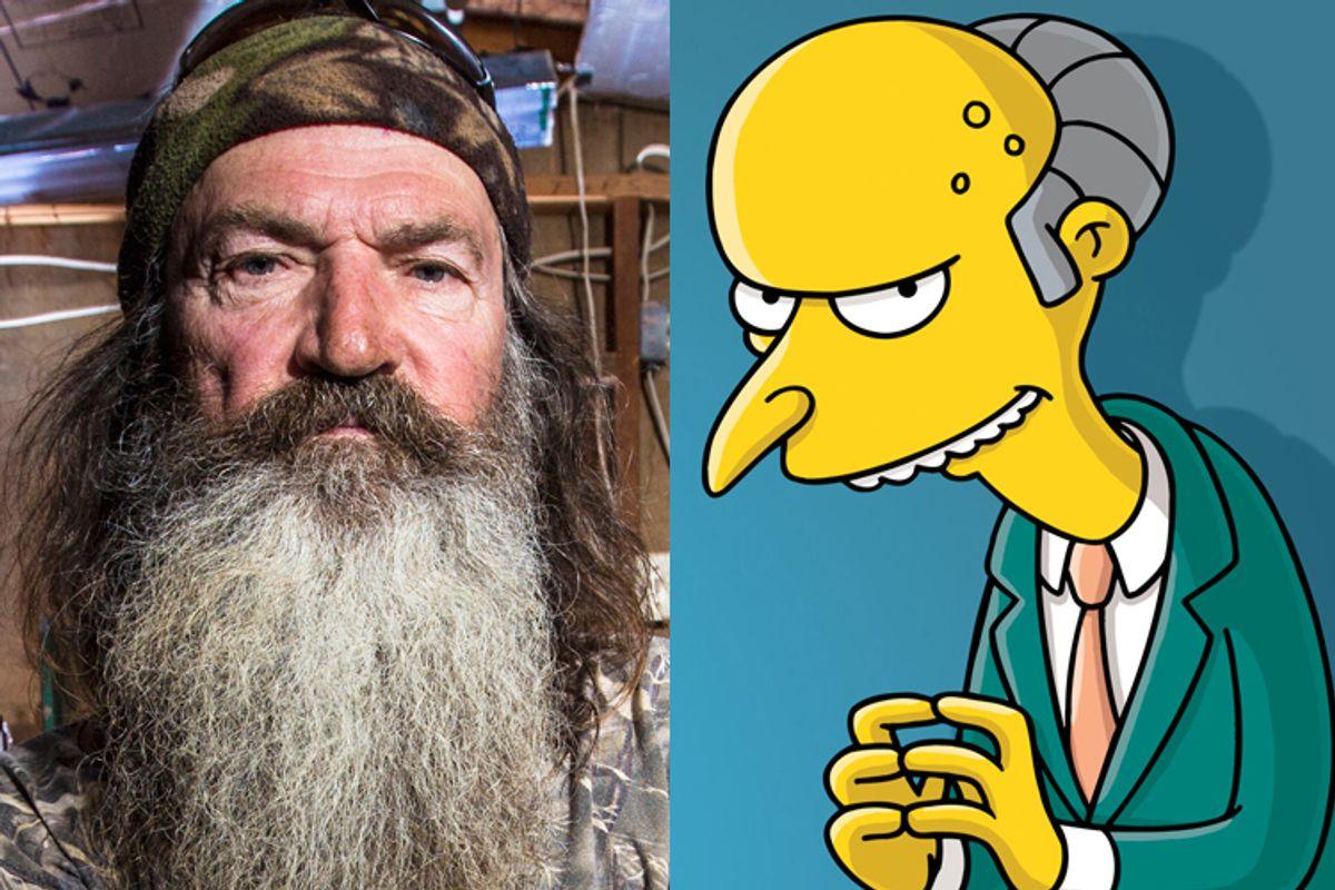 "Phil Robertson of ""Duck Dynasty,"" Mr. Burns of ""The Simpsons""             (A&E/Karolina Wojtasik/FOX)"