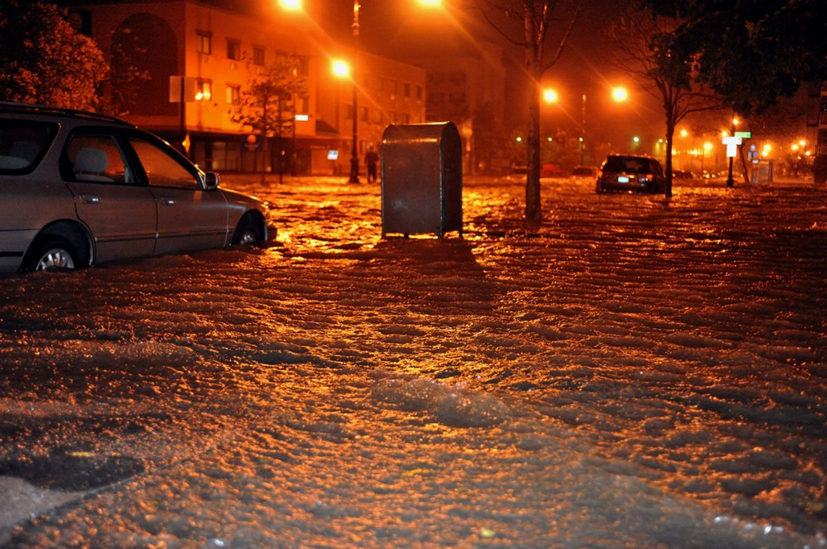 Flooded streets, caused by Hurricane Sandy, are seen on October 29, 2012, in the corner of Brigham street and Emmons Avenue of Brooklyn NY, United States. (Anton Oparin/Shutterstock)
