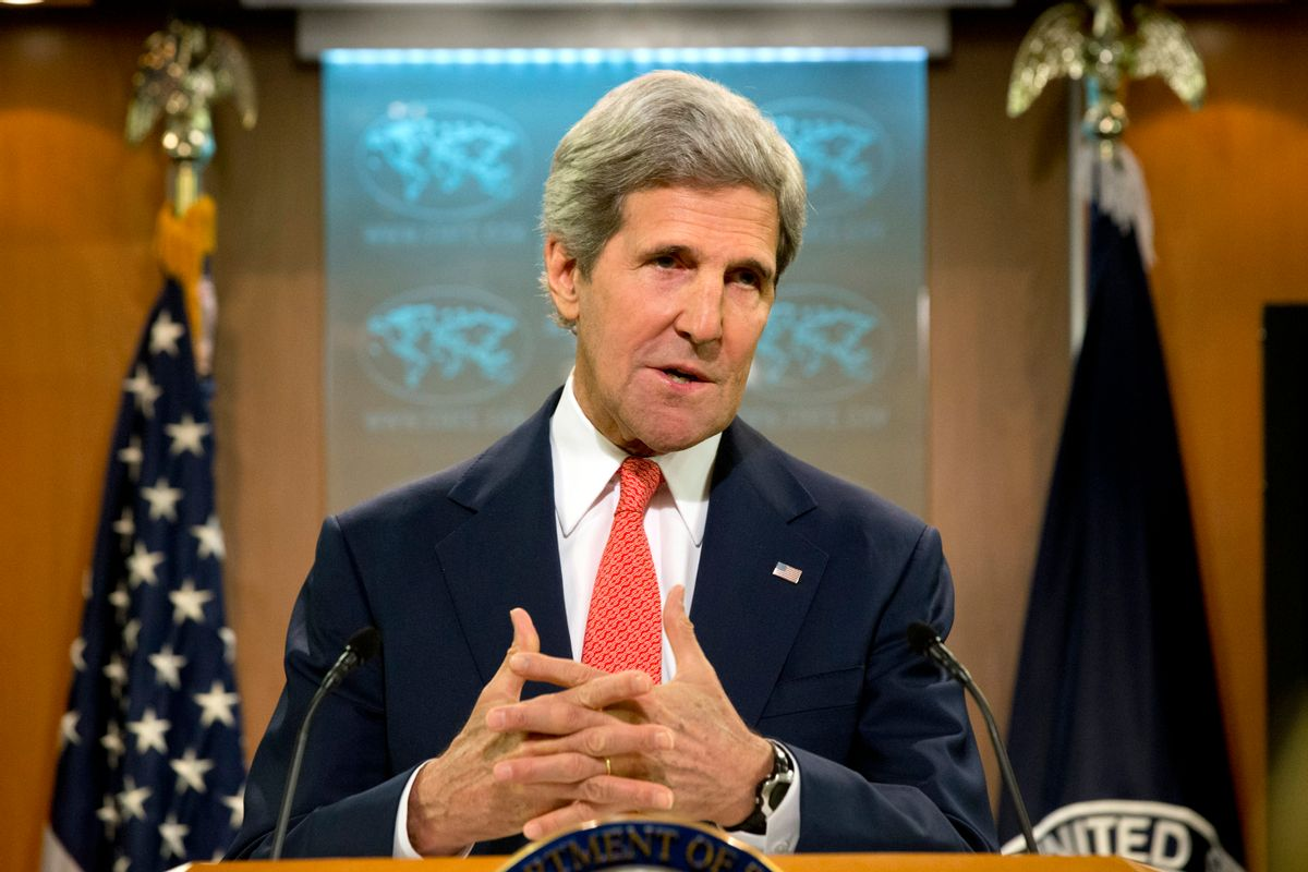 Secretary of State John Kerry speaks about the situation with Ukraine and Russia from the State Department in Washington, Thursday, April 24, 2014. Kerry is accusing Russia of failing to live up to commitments it made to ease the crisis in Ukraine. (AP Photo/Jacquelyn Martin) (AP)