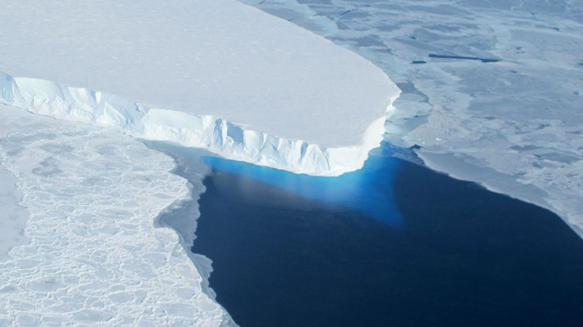 This undated handout photo provided by NASA shows the Thwaites Glacier in West Antarctic. Two new studies indicate that part of the huge West Antarctic ice sheet is starting a slow collapse in an unstoppable way. Alarmed scientists say that means even more sea level rise than they figured.  ((AP Photo/NASA))