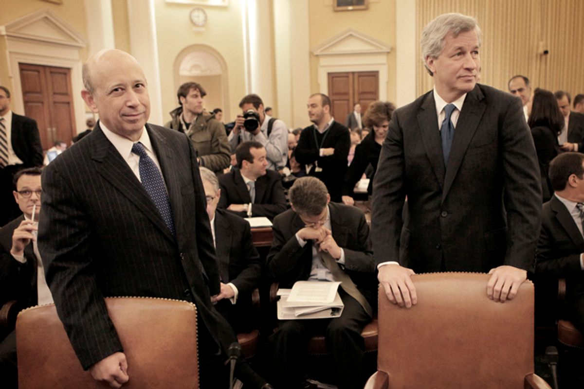 Lloyd Blankfein and Jamie Dimon, prior to testifying before the Financial Crisis Inquiry Commission, Jan. 13, 2010.              (AP/Pablo Martinez Monsivais)