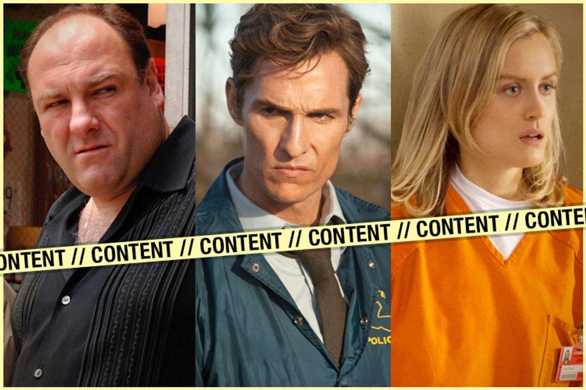 "James Gandolfini in ""The Sopranos,"" Matthew McConaughey in ""True Detective,"" Taylor Schilling in ""Orange Is the New Black""  (HBO/Netflix/Salon)"
