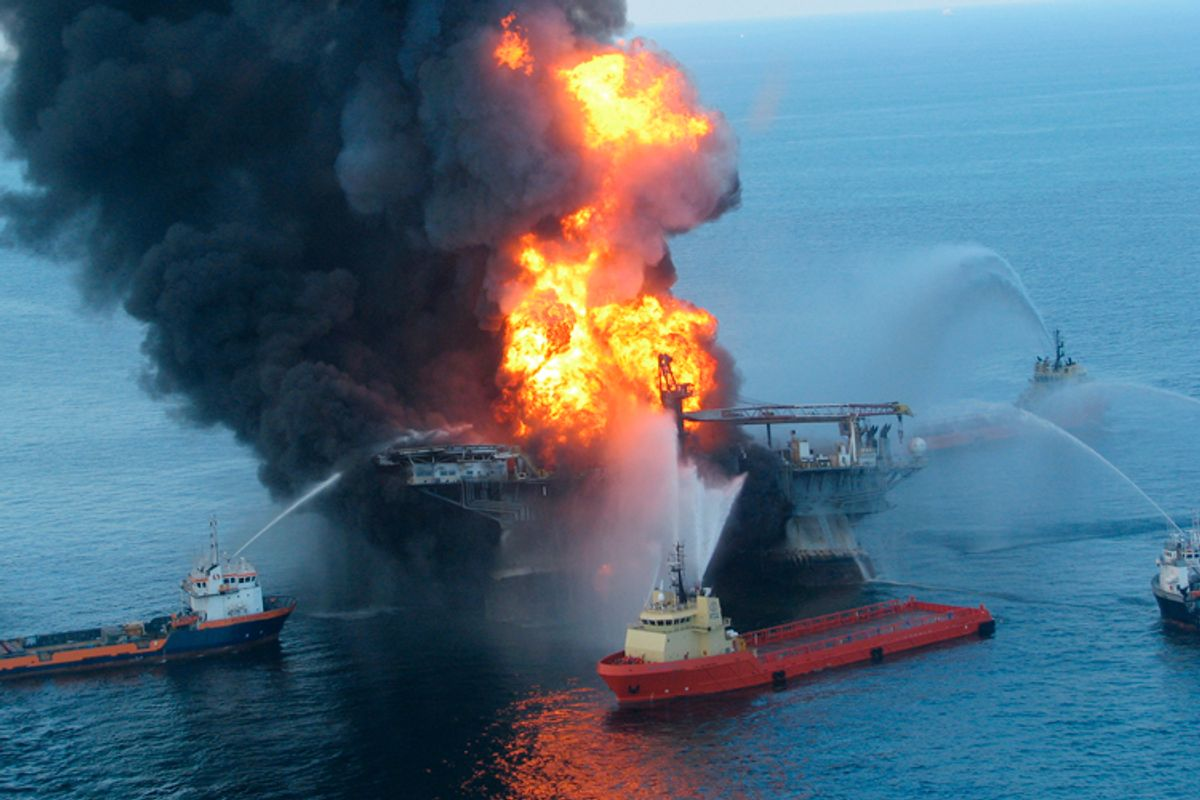 Fire boat response crews battle the blazing remnants of the offshore oil rig Deepwater Horizon, off Louisiana, April 21, 2010.          (Reuters)