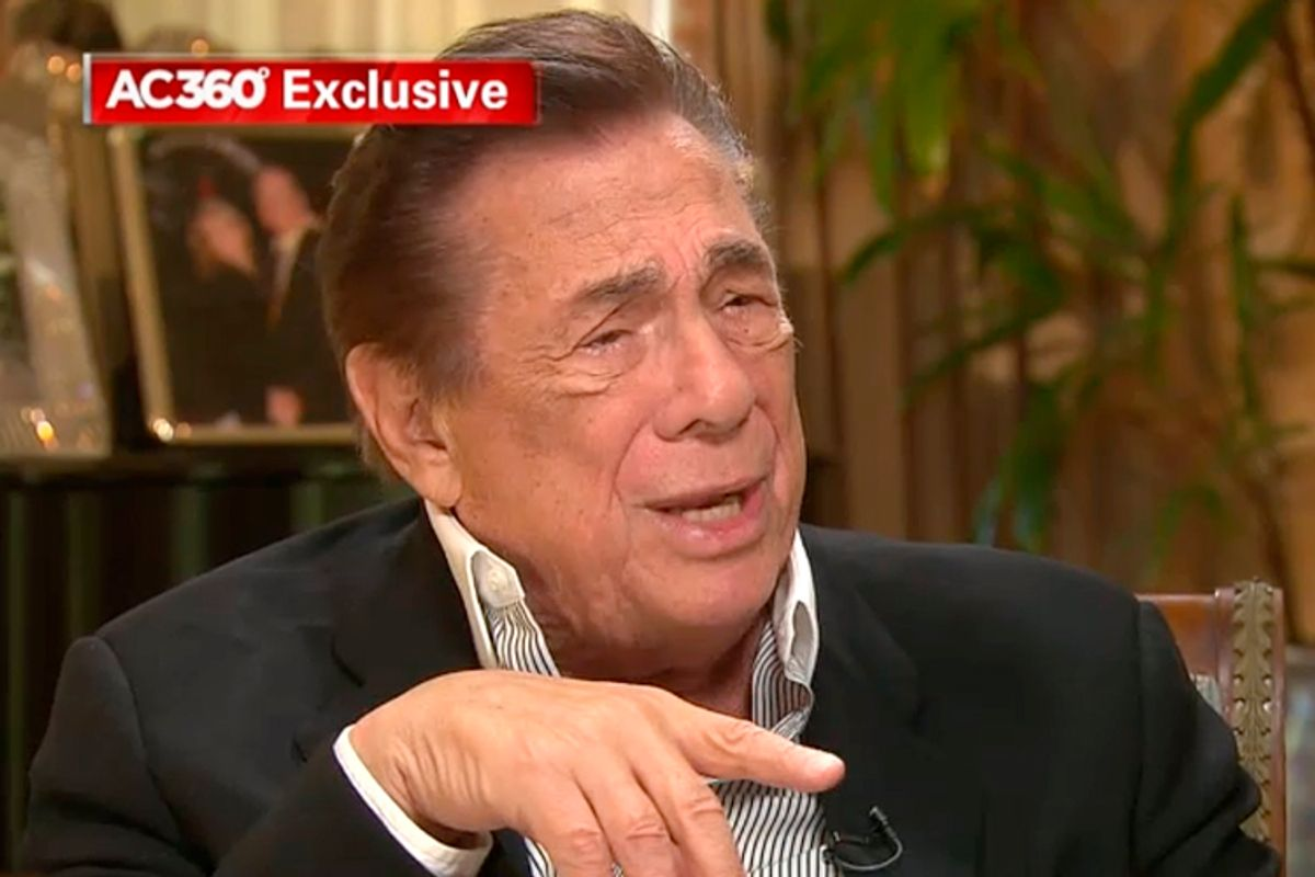 Donald Sterling, interviewed by Anderson Cooper, May 12, 2014.               (CNN)