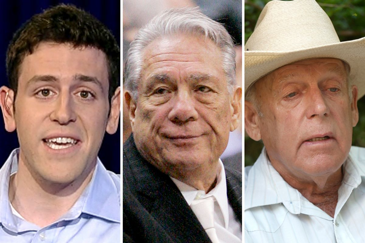 Tal Fortgang, Donald Sterling, Cliven Bundy           (Fox News/AP/Mark J. Terrill/Reuters/Jim Urquhart)