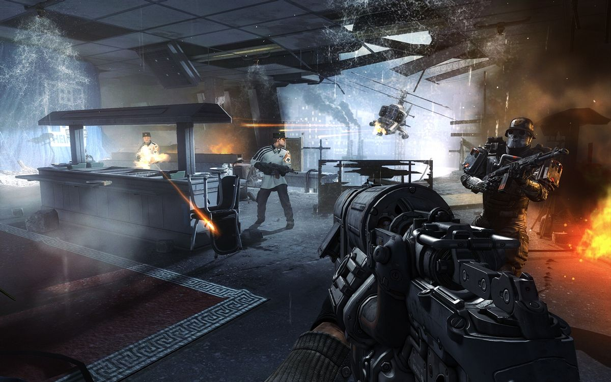 """This video game image released by Bethesda Softworks shows resistance fighters battling German troops in Nazi-occupied London in a scene from """"Wolfenstein: The New Order."""" (AP Photo/Bethesda Softworks) (AP)"""
