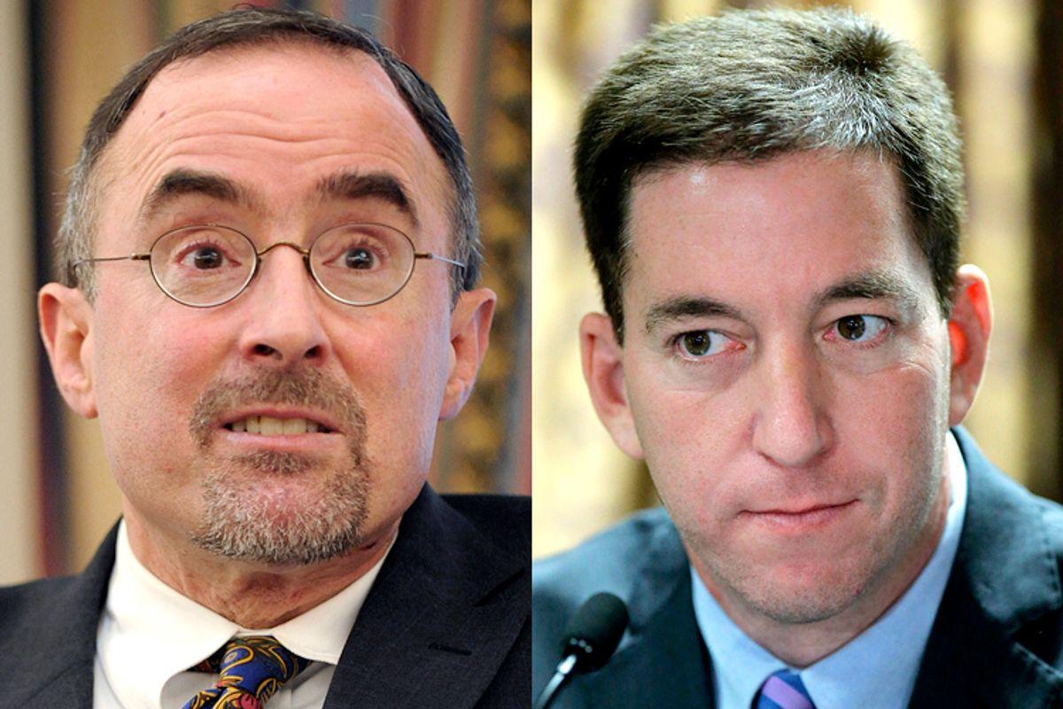 Michael Kinsley, Glenn Greenwald          (Reuters/Keith Bedford/Eduardo Munoz)