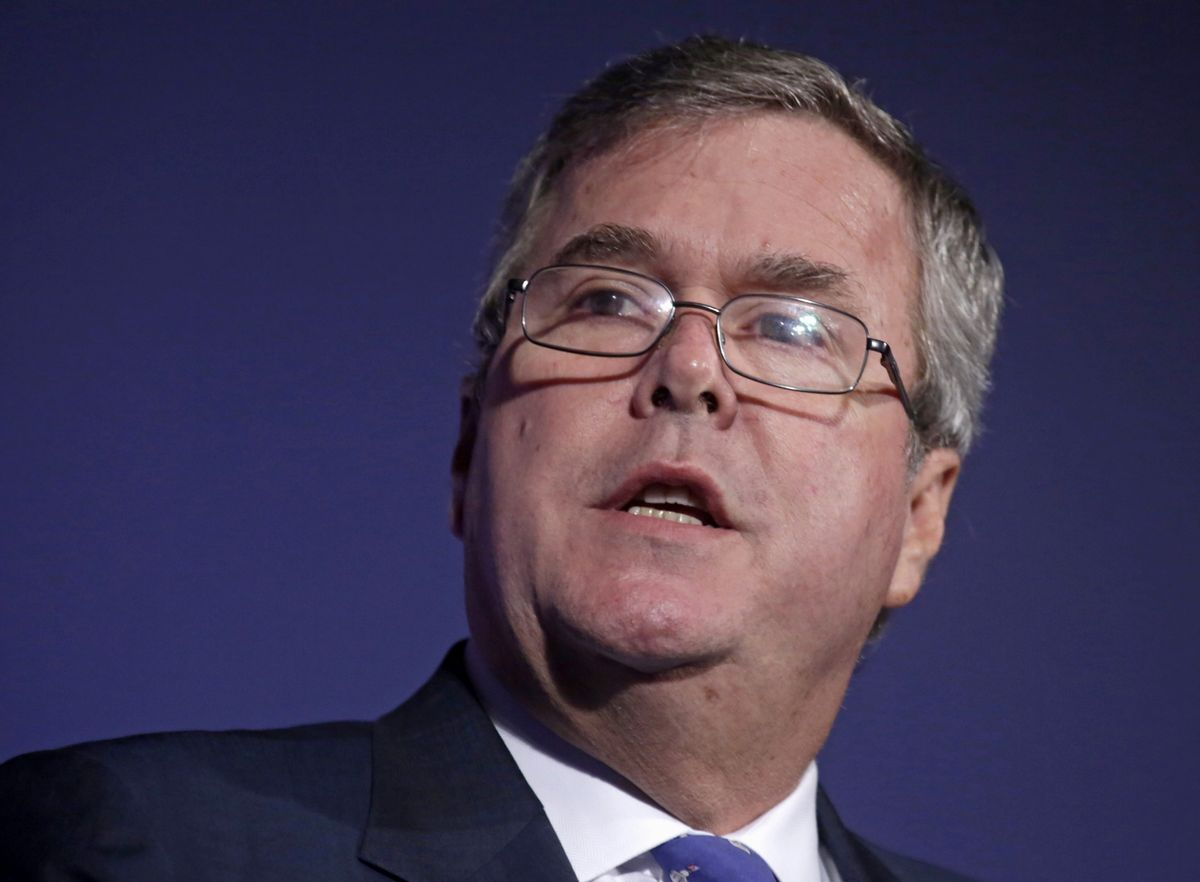 """FILE - In this Aug. 9, 2013 file photo, former Florida Gov. Jeb Bush speaks in Chicago. For almost a year, The Associated Press has been tracking movements and machinations of more than a dozen prospective presidential candidates. Bush's standard disclaimer, """"I can honestly tell you that I don't know what I'm going to do."""" He says he'll decide by end of year whether to run. One factor in his decision: Whether he can run an optimistic campaign and avoid the """"mud fight"""" of politics. (AP Photo/M. Spencer Green, File) (AP)"""