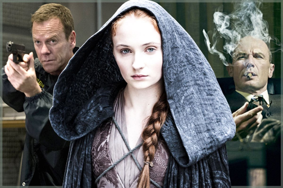 """Kiefer Sutherland in """"24: Live Another Day,"""" Sophie Turner in """"Game of Thrones,"""" Toby Huss in """"Halt and Catch Fire""""    (Fox/HBO/AMC)"""