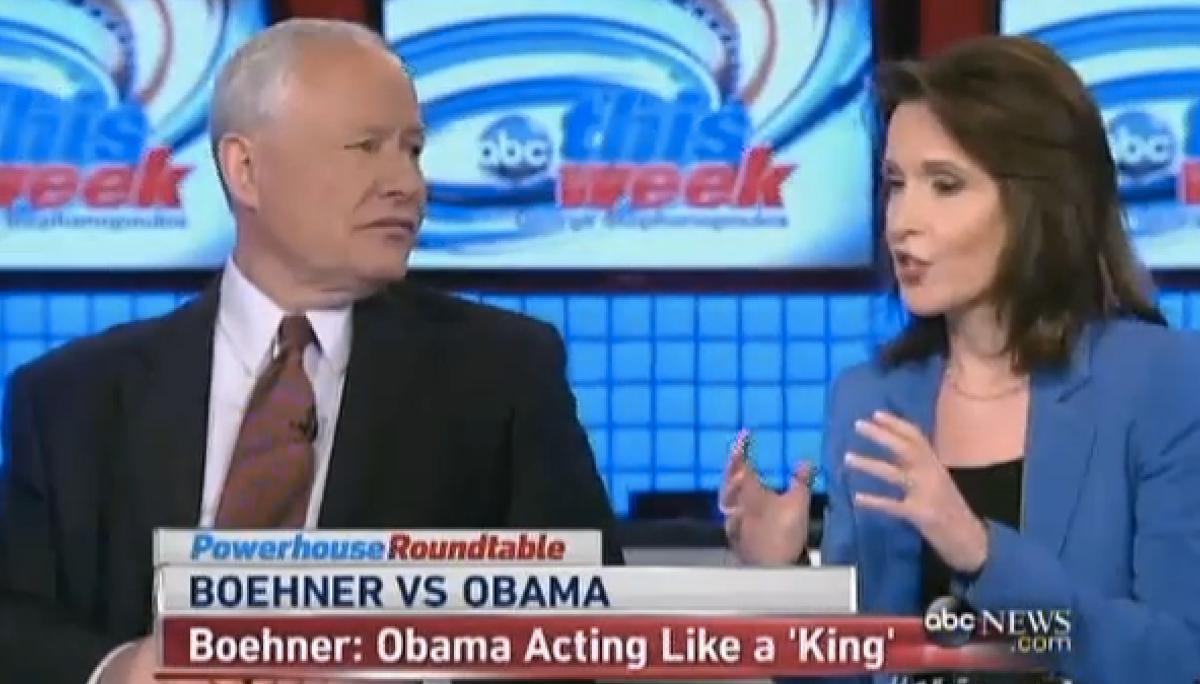 "Bill Kristol and Katrina vanden Heuvel on ABC's ""This Week""                  (screenshot)"