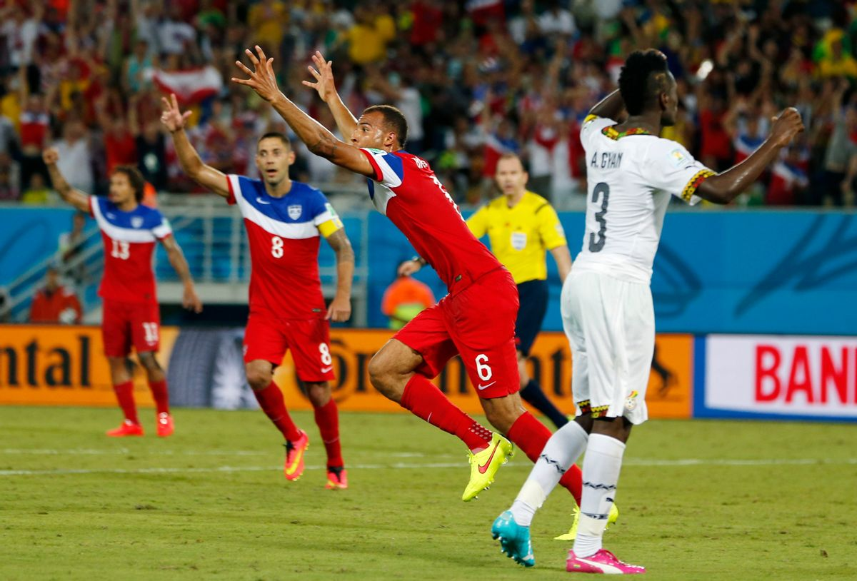 United States' John Brooks (6) celebrates with teammates after scoring his side's second goal during the group G World Cup soccer match between Ghana and the United States at the Arena das Dunas in Natal, Brazil, Monday, June 16, 2014. (AP Photo/Julio Cortez) (Julio Cortez)