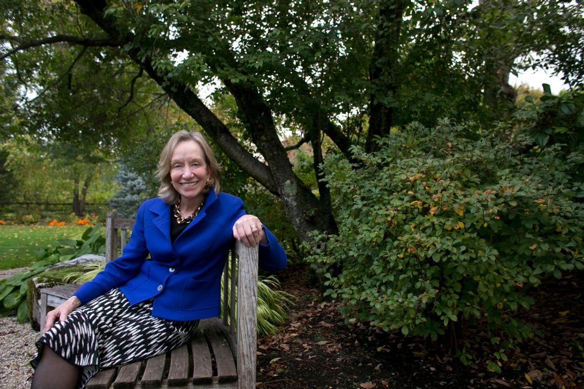 """FILE - In this Monday, Oct. 7, 2013 file photo, author Doris Kearns Goodwin poses for a portrait at her home in Concord, Mass. Goodwin is the nonfiction winner of the Andrew Carnegie Medal for her book on the progressive era of the early 20th century, """"The Bully Pulpit."""" (AP Photo/Steven Senne, File) (AP)"""