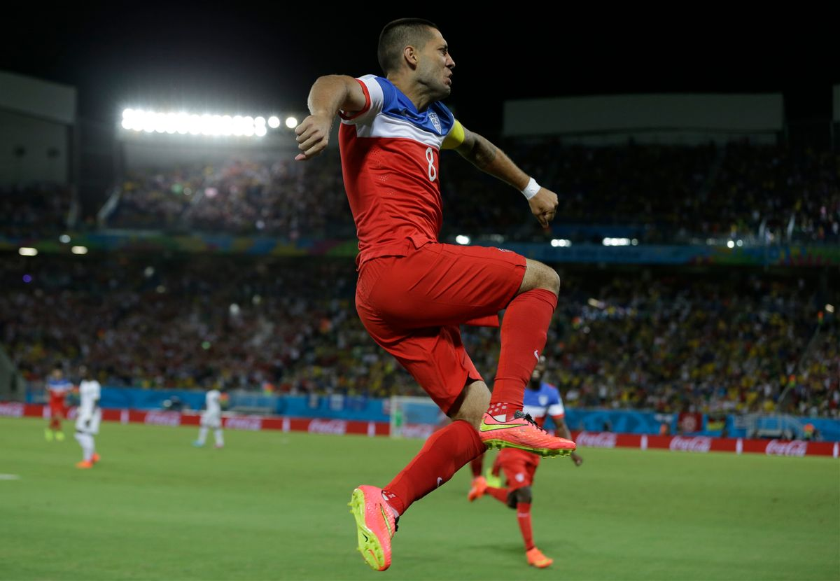 United States' Clint Dempsey leaps as he celebrates after scoring the opening goal during the group G World Cup soccer match between Ghana and the United States at the Arena das Dunas in Natal, Brazil, Monday, June 16, 2014.  (AP Photo/Ricardo Mazalan) (Ricardo Mazalan)