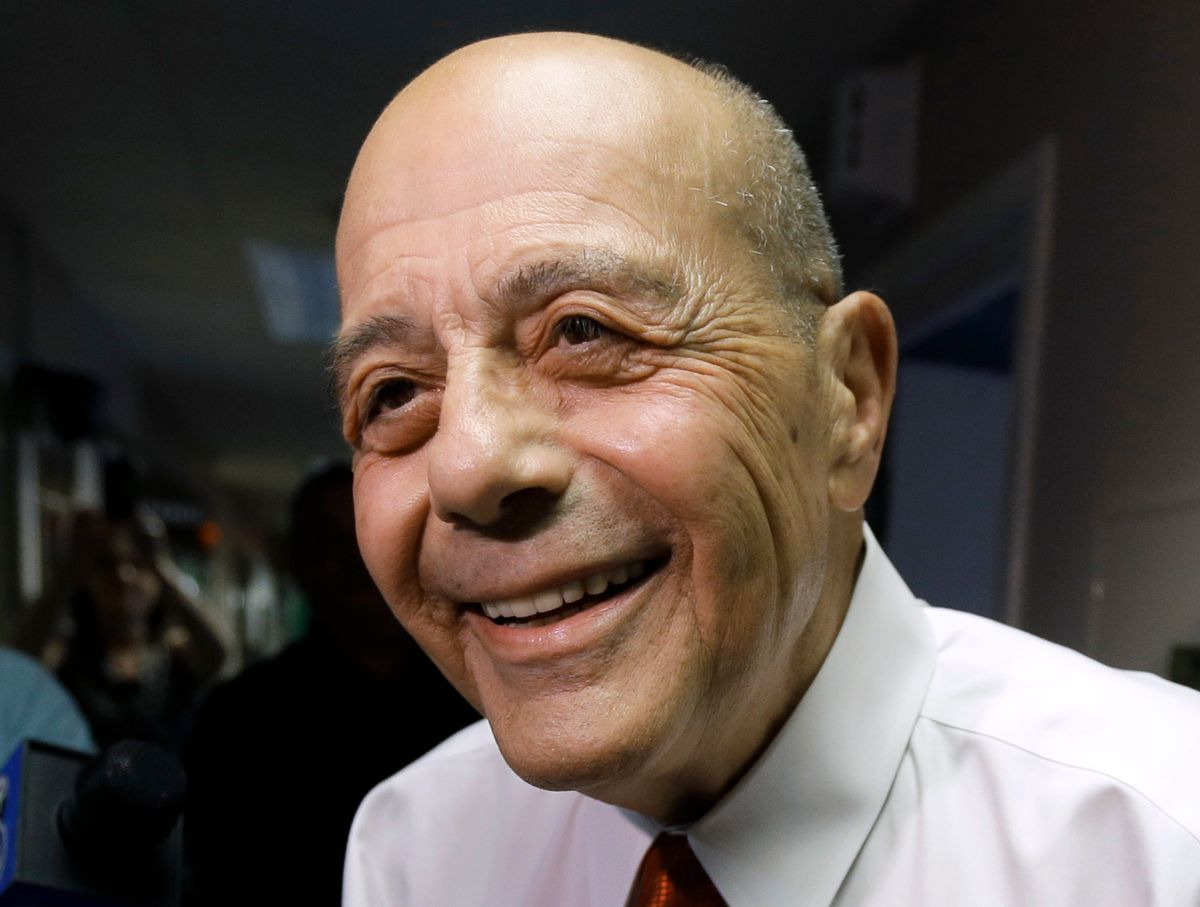FILE - In this Wednesday, June 25, 2014 file photo, former ProvidenceMayor Buddy Cianci speaks with reporters at the WPRO-AM radio station in East Providence, R.I., after announcing on the air that he will run for a seventh term as mayor. Cianci was forced to resign in 1984 after he was convicted of assault. In 1990 he won his job back until he was convicted of racketeering conspiracy in 2002 and sent to prison as part of a federal investigation into corruption in City Hall. (AP Photo/Steven Senne, File) (AP)