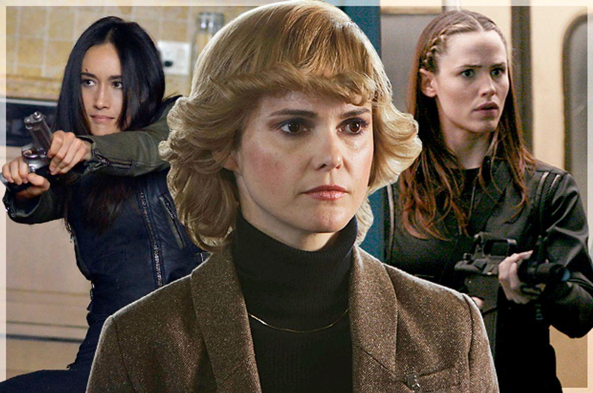 "Maggie Q in ""Nikita,"" Keri Russell in ""The Americans,"" Jennifer Garner in ""Alias""   (CW/FX/ABC/Salon)"