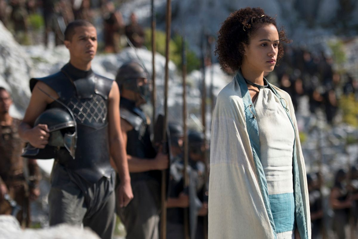"""Jacob Anderson and Nathalie Emmanuel in """"Game of Thrones""""           (HBO)"""