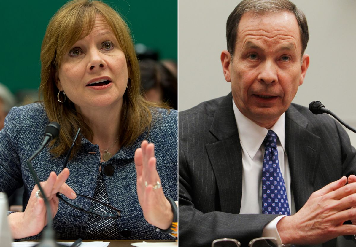 In this combo made from file photos, General Motors CEO Mary Barra testifies before the House Energy and Commerce subcommittee on Oversight and Investigation on Tuesday, April 1, 2014, left, and former U.S. Attorney Anton R. Valukas testifies before the House Financial Services Committee on April 20, 2010, on Capitol Hill in Washington. Barra and Valukas will appear on June 18, 2014 before the House Energy and Commerce Committee's oversight subcommittee, the panel announced Wednesday. (AP Photo/Evan Vucci, Charles Dharapak) (AP)