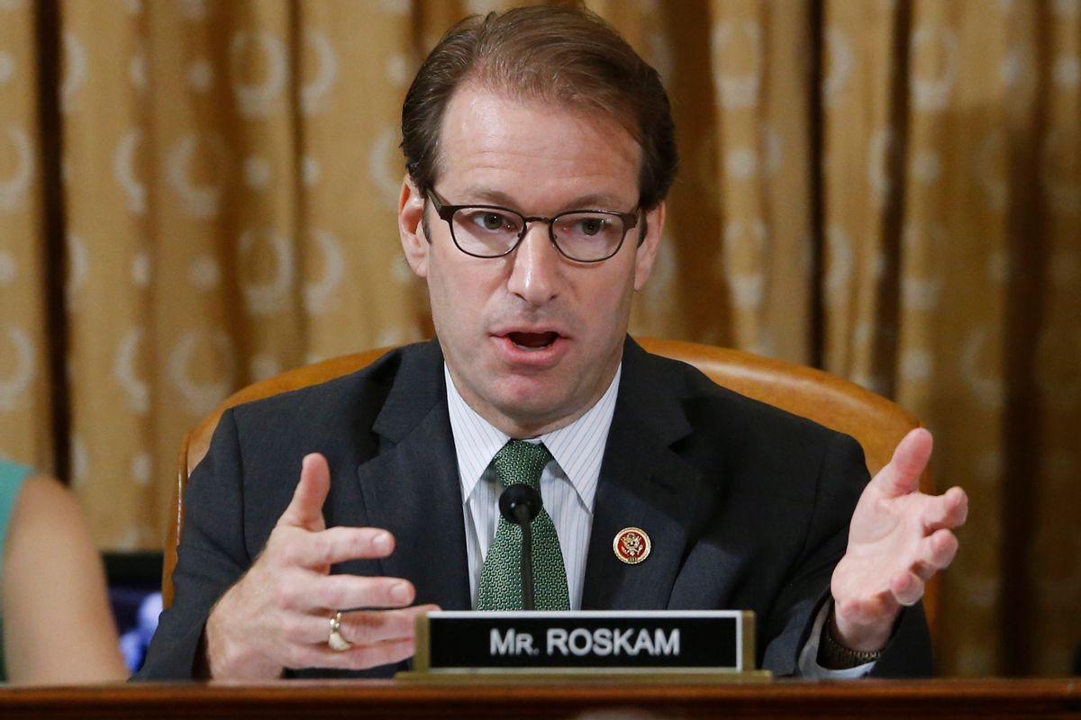 FILE - In this May 17, 2013 file photo, Rep. Peter Roskam, R-Ill., is seen at a hearing of the House Ways and Means Committee on Capitol Hill in Washington. The contest for the No. 3 spot in the House GOP has turned into tea party conservatives' last, best shot at congressional leadership after getting shut out of the top two jobs in the shakeup following Majority Leader Eric Cantor's surprise primary defeat. All three _ Steve Scalise of Louisiana, Roskam of Illinois, and Marlin Stutzman _ are to make their case to GOP rank-and-file lawmakers Wednesday ahead of votes on Thursday.() (AP Photo/Charles Dharapak, File)
