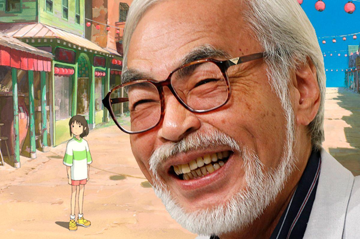 """Hayao Miyazaki, with a still from """"Spirited Away""""      (AP/Koji Sasahara)"""
