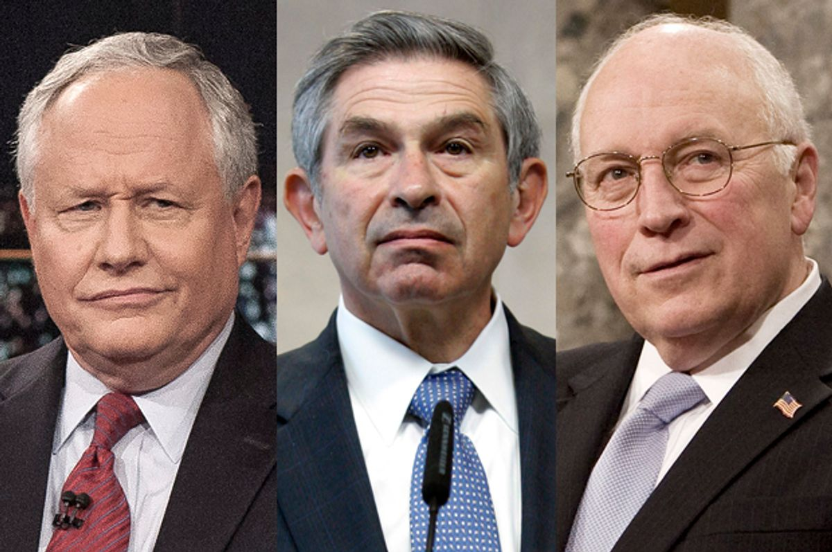 William Kristol, Paul Wolfowitz, Dick Cheney                         (AP/Janet Van Ham/Yves Logghe/Reuters/Larry Downing/Salon)
