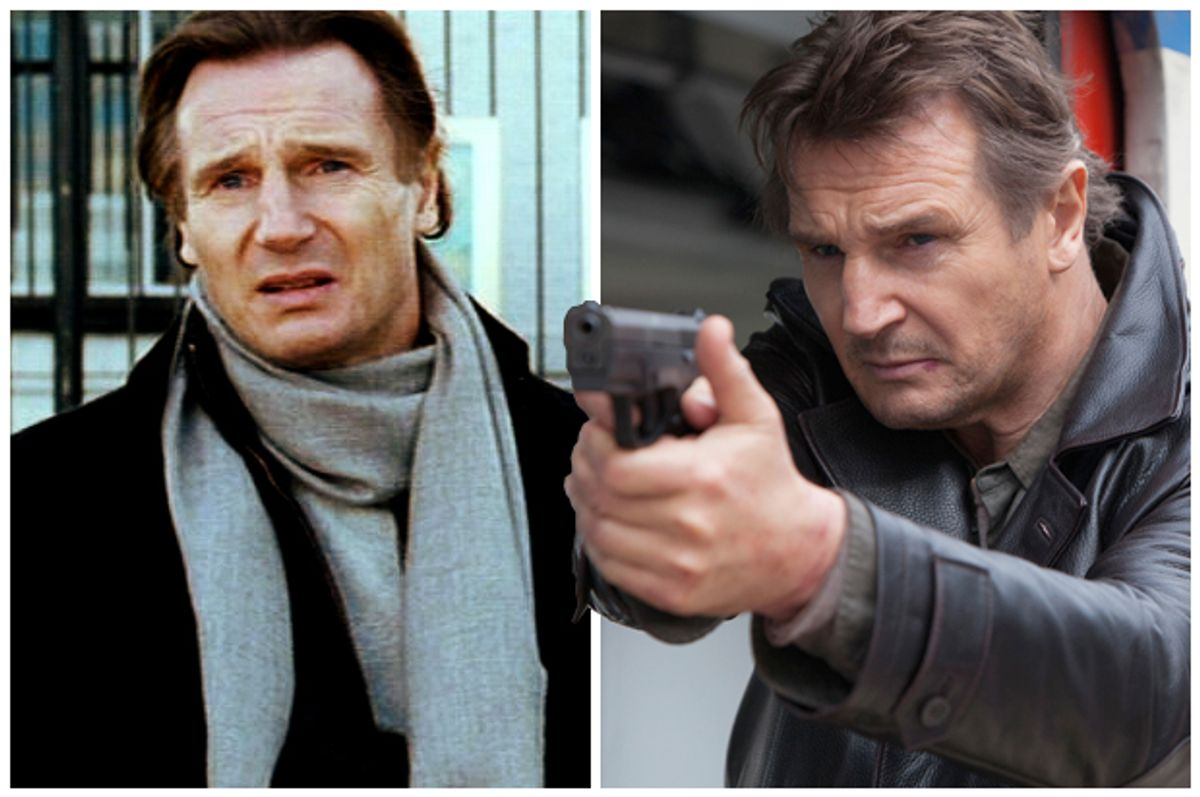 """Liam Neeson with scarf in """"Love Actually,"""" with gun in """"Taken 2"""""""