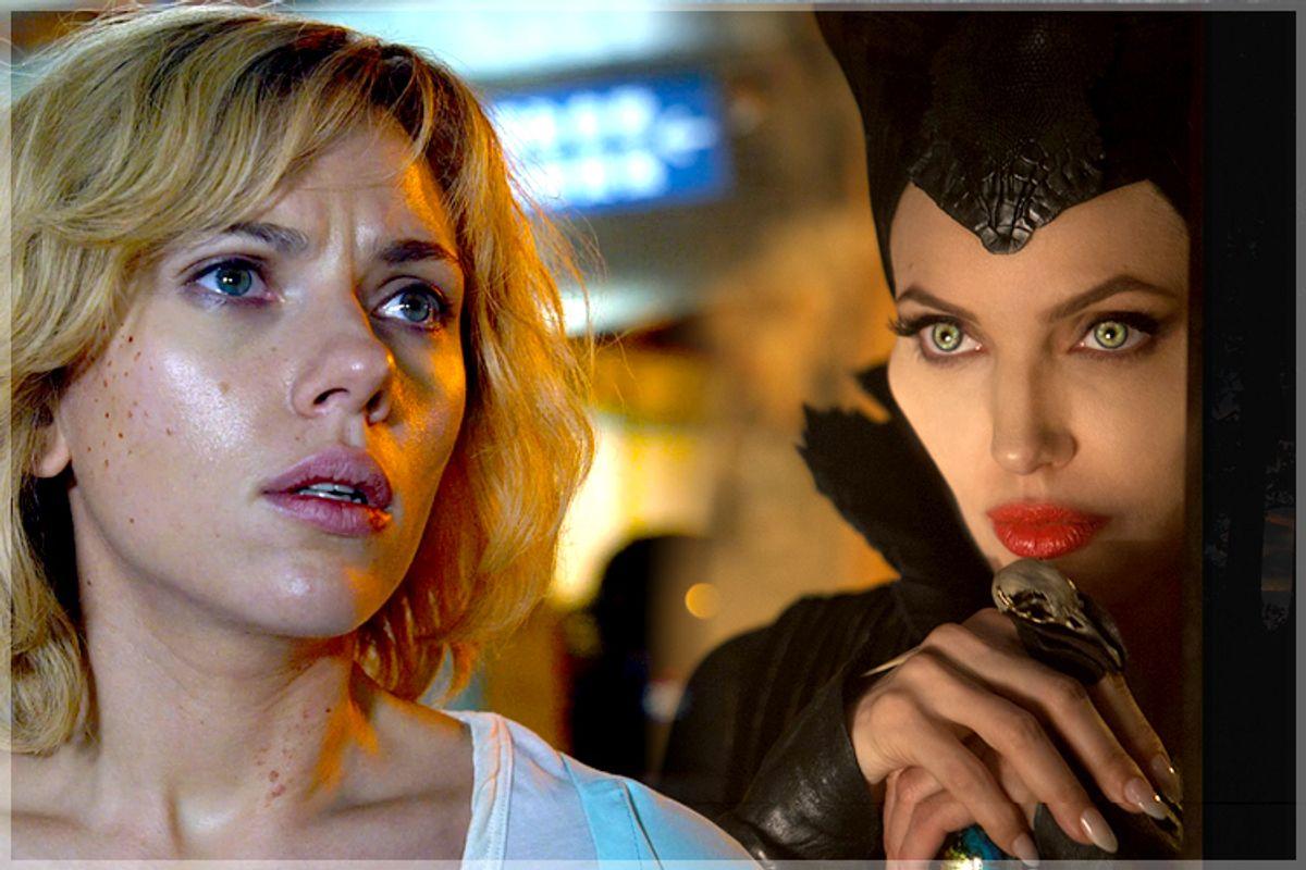 "Scarlett Johansson in ""Lucy,"" Angelina Jolie in ""Maleficent"""